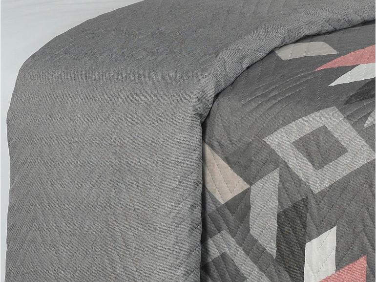 Kit: 1 Cobre-leito Solteiro Bouti de Microfibra Ultrasonic Estampada + 1 Porta-travesseiro - Montenegro Cinza - Dui Design