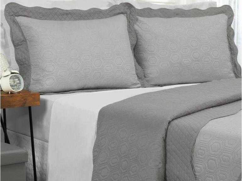 Kit: 1 Cobre-leito King Bouti de Microfibra Ultrasonic + 2 Porta-travesseiros - Monterey Cinza - Dui Design