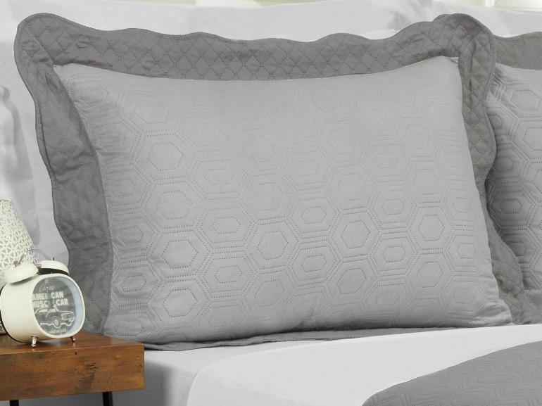 Kit: 1 Cobre-leito Solteiro Bouti de Microfibra Ultrasonic + 1 Porta-travesseiro - Monterey Cinza - Dui Design