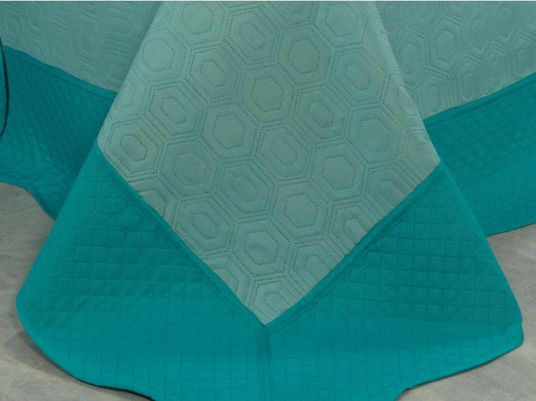 Kit: 1 Cobre-leito Queen Bouti de Microfibra Ultrasonic + 2 Porta-travesseiros - Monterey Turquesa - Dui Design
