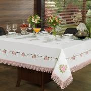 Toalha de Mesa com Bordado Richelieu Quadrada 8 Lugares 220x220cm - Morgana Vintage - Dui Design