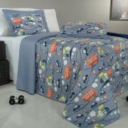 Kit: 1 Cobre-leito Casal Kids Bouti de Microfibra PatchWork Ultrasonic + 2 Porta-travesseiros - Motorsport Azul - Dui Design