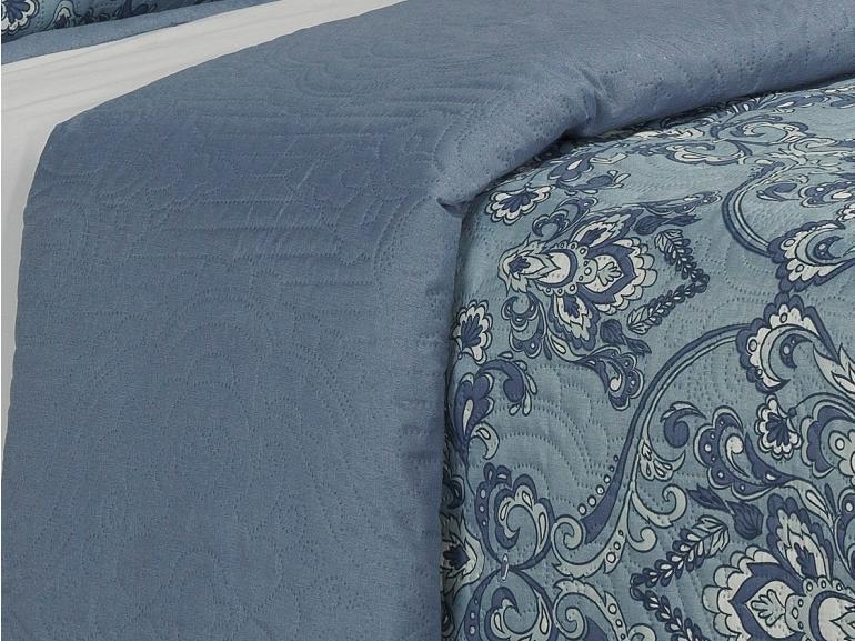 Kit: 1 Cobre-leito Casal Bouti de Microfibra Ultrasonic Estampada + 2 Porta-travesseiros - Mustafa Azul - Dui Design