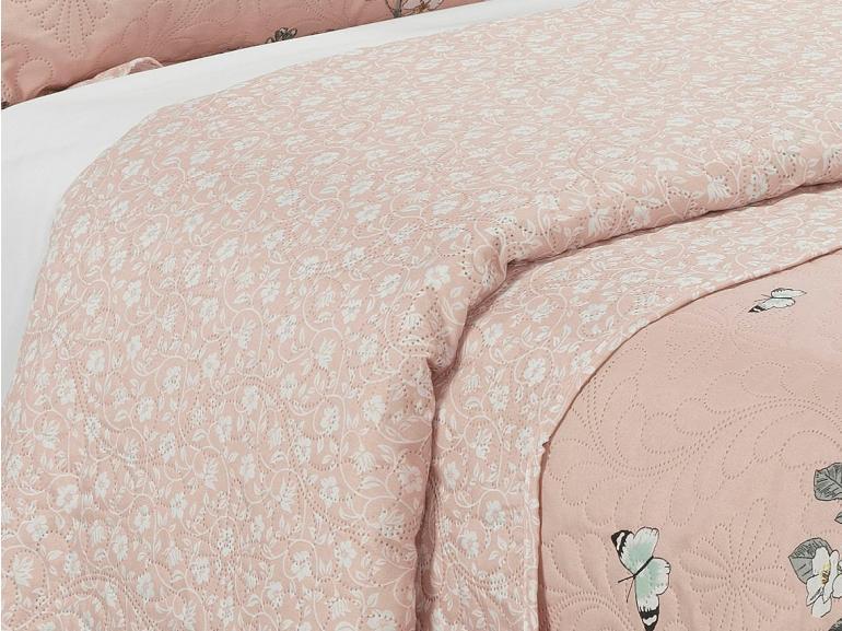 Kit: 1 Cobre-leito Casal Bouti de Microfibra Ultrasonic Estampada + 2 Porta-travesseiros - Naguchi Rosa - Dui Design