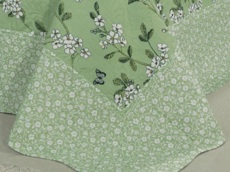 Kit: 1 Cobre-leito Casal Bouti de Microfibra Ultrasonic Estampada + 2 Porta-travesseiros - Naguchi Verde - Dui Design