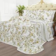 Kit: 1 Cobre-leito Casal + 2 Porta-travesseiros Percal 200 fios - Nair Castanho - Dui Design