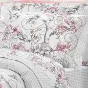 Edredom Casal Percal 200 fios - Nair Rosa Velho - Dui Design