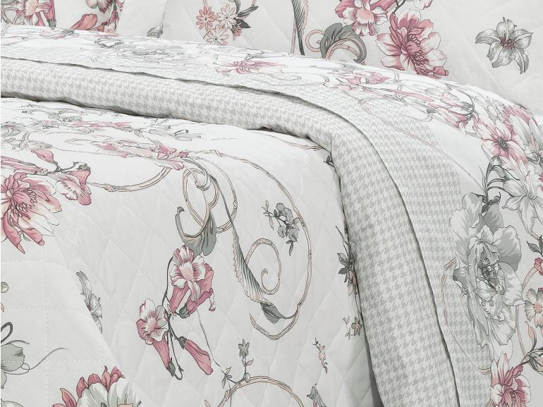 Kit: 1 Cobre-leito Solteiro + 1 Porta-travesseiro Percal 200 fios - Nair Rosa Velho - Dui Design