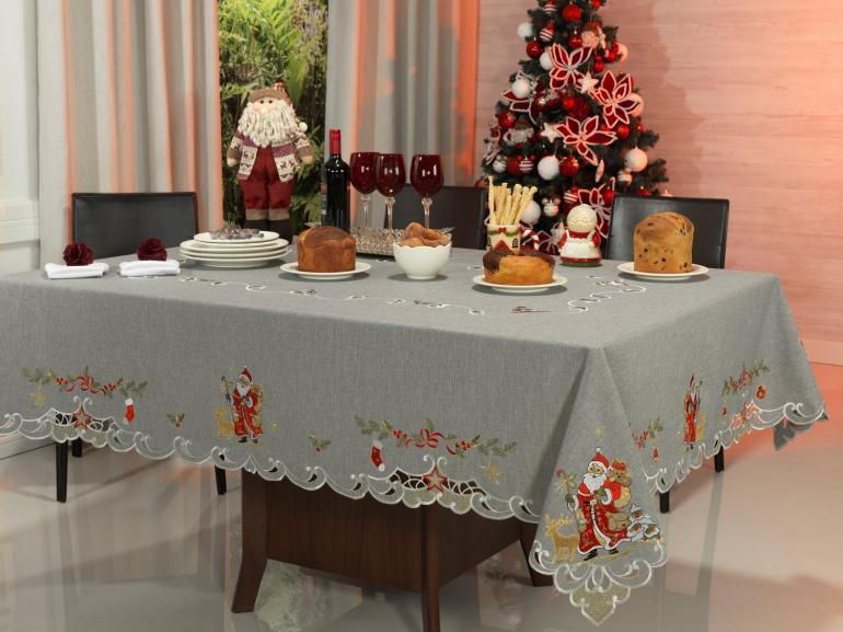 Toalha de Mesa Natal com Bordado Richelieu Retangular 8 Lugares 160x270cm - Natal Especial Cinza - Dui Design