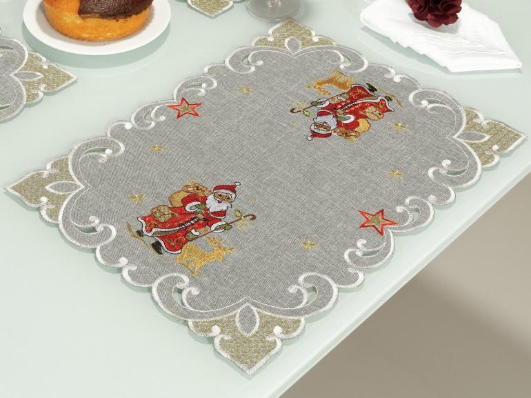 Jogo Americano Natal 4 Lugares (4 peças) com Bordado Richelieu 35x50cm - Natal Especial Cinza - Dui Design