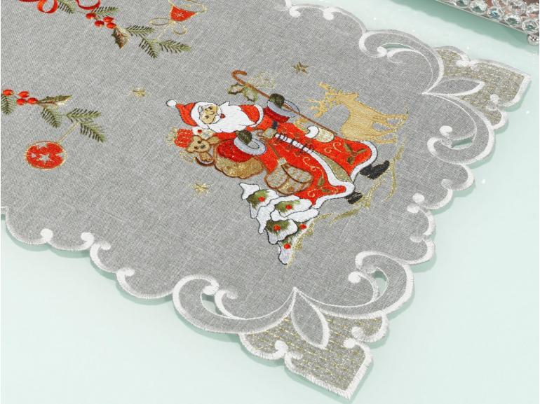 Trilho de Mesa Natal com Bordado Richelieu 40x85cm Avulso - Natal Especial Cinza - Dui Design