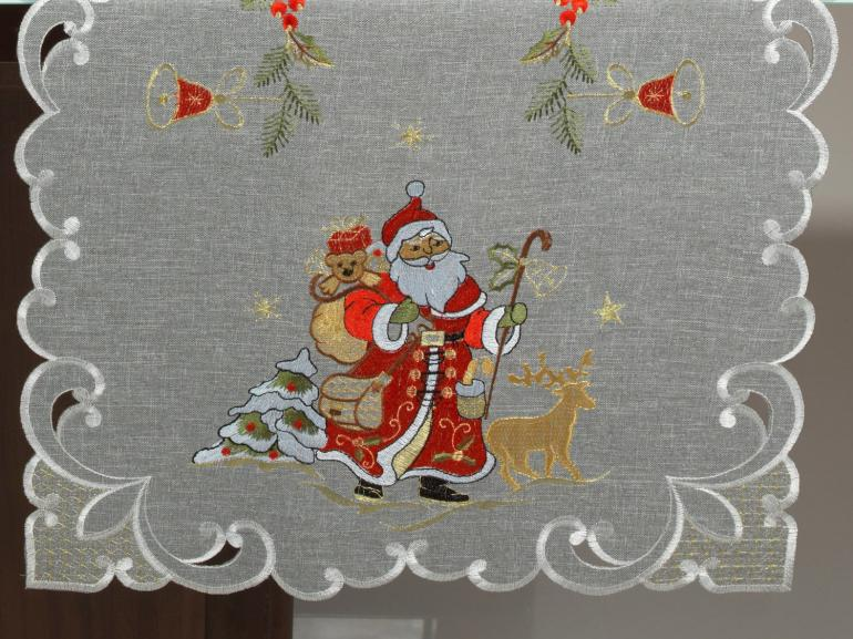 Trilho de Mesa Natal com Bordado Richelieu 45x170cm Avulso - Natal Especial Cinza - Dui Design