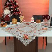Centro de Mesa Natal Quadrado com Bordado Richelieu 85x85cm - Natal Especial Cinza - Dui Design