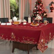 Toalha de Mesa Natal com Bordado Richelieu Quadrada 4 Lugares 160x160cm - Natal Especial Vermelho - Dui Design