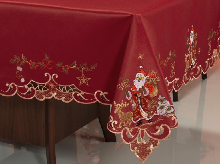 Toalha de Mesa Natal com Bordado Richelieu Retangular 8 Lugares 160x270cm - Natal Especial Vermelho - Dui Design