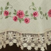 Toalha de Mesa com Bordado Richelieu Redonda 180cm - Natália Bege e Rosa - Dui Design