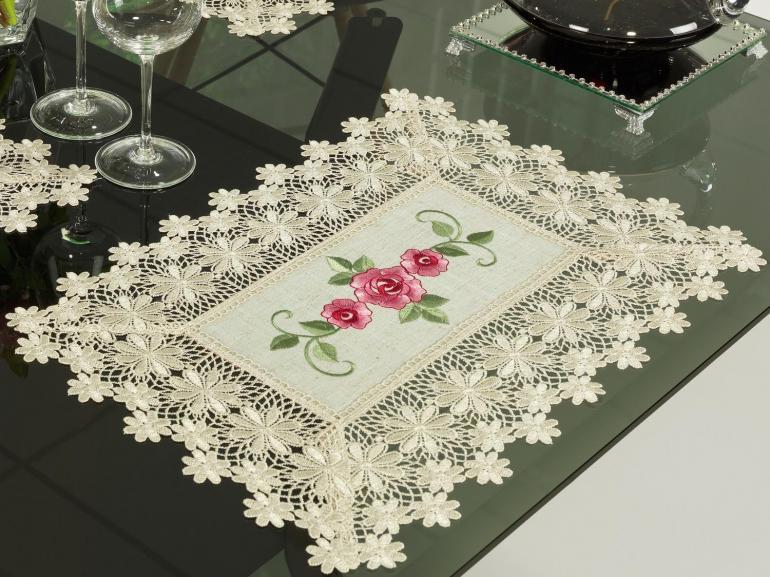 Jogo Americano 4 Lugares (4 peças) com Bordado Richelieu 35x50cm - Natália Bege e Rosa - Dui Design