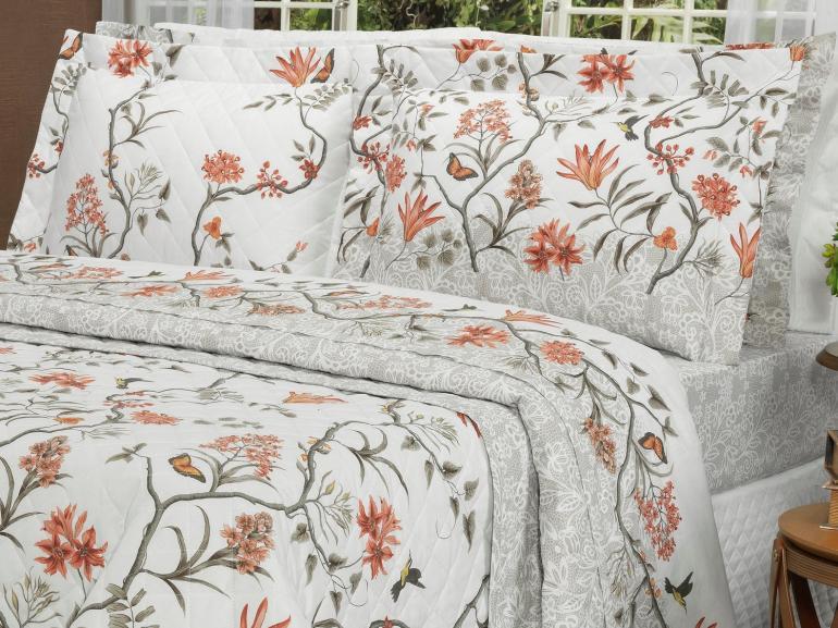Kit: 1 Cobre-leito Casal + 2 Porta-travesseiros Percal 200 fios - Natalie Sephia - Dui Design