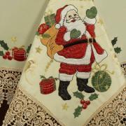 Toalha de Mesa Natal com Bordado Richelieu Quadrada 4 Lugares 160x160cm - Natalina Natural - Dui Design