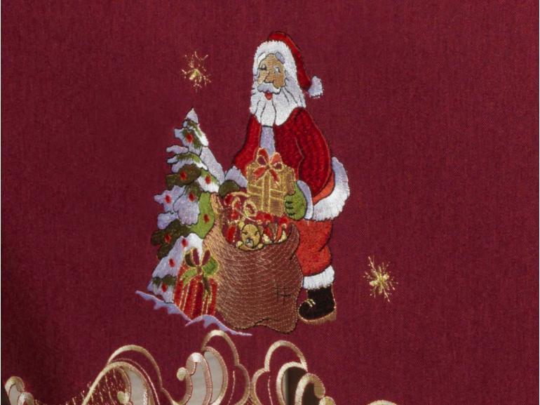 Toalha de Mesa Natal com Bordado Richelieu Retangular 6 Lugares 160x220cm - Natalina Vermelho - Dui Design