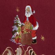 Toalha de Mesa Natal com Bordado Richelieu Quadrada 8 Lugares 220x220cm - Natalina Vermelho - Dui Design