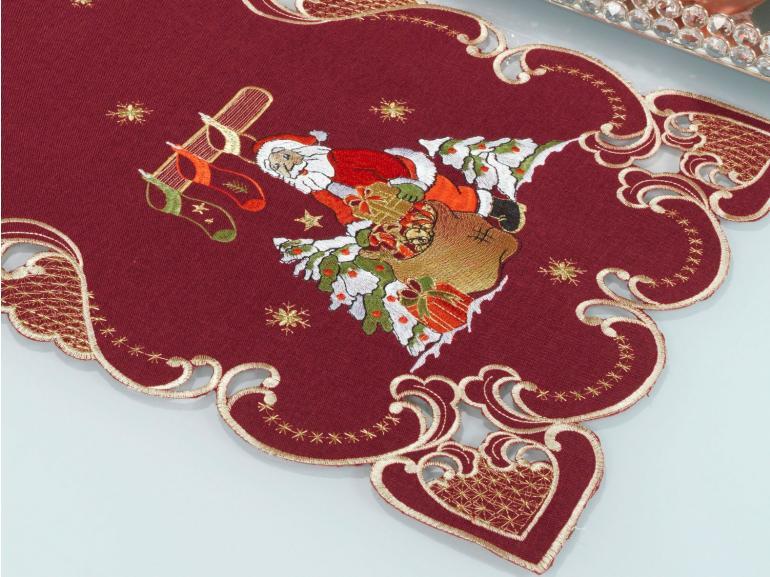 Trilho de Mesa Natal com Bordado Richelieu 40x85cm Avulso - Natalina Vermelho - Dui Design