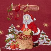 Trilho de Mesa Natal com Bordado Richelieu 45x170cm Avulso - Natalina Vermelho - Dui Design