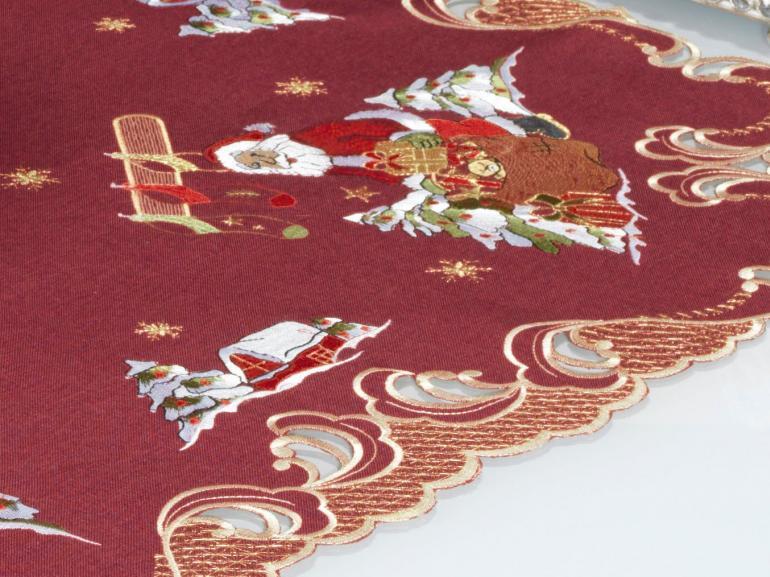 Centro de Mesa Natal Quadrado com Bordado Richelieu 85x85cm - Natalina Vermelho - Dui Design