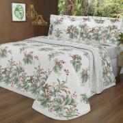 Kit: 1 Cobre-leito Solteiro + 1 Porta-travesseiro Percal 200 fios - Native Verde - Dui Design