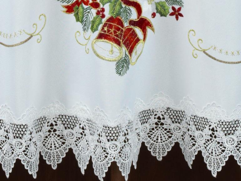 Toalha de Mesa Natal com Bordado Richelieu Redonda 180cm - Navidad Branco - Dui Design