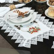 Jogo Americano Natal 4 Lugares (4 peças) com Bordado Richelieu 35x50cm - Navidad Branco - Dui Design