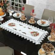 Trilho de Mesa Natal com Bordado Richelieu 40x85cm Avulso - Navidad Branco - Dui Design