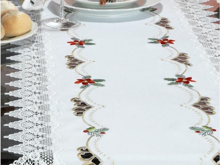 Trilho de Mesa Natal com Bordado Richelieu 45x170cm Avulso - Navidad Branco - Dui Design