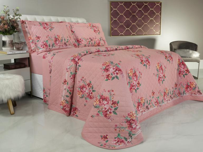 Kit: 1 Cobre-leito Queen + 2 Porta-travesseiros 150 fios - Naya Rosa Velho - Dui Design
