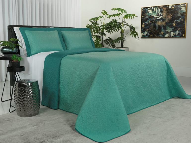 Kit: 1 Cobre-leito Casal Bouti de Microfibra Ultrasonic + 2 Porta-travesseiros - Nevis Esmeralda - Dui Design
