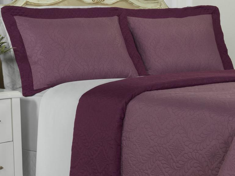 Kit: 1 Cobre-leito Casal Bouti de Microfibra Ultrasonic + 2 Porta-travesseiros - Nevis Uva - Dui Design