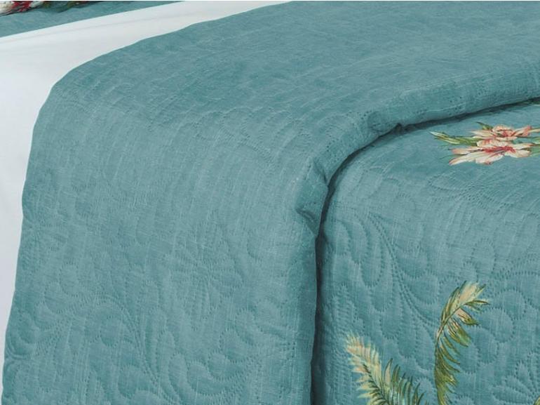 Kit: 1 Cobre-leito Casal Bouti de Microfibra Ultrasonic Estampada + 2 Porta-travesseiros - Niagara Azul - Dui Design