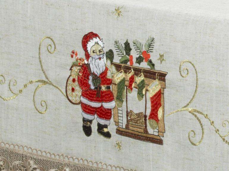 Toalha de Mesa Natal de Linho com Bordado Richelieu Quadrada 4 Lugares 160x160cm - Nicolau Bege - Dui Design