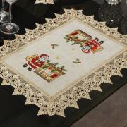 Jogo Americano Natal 4 Lugares (4 peças)de Linho com Bordado Richelieu 35x50cm - Nicolau Bege - Dui Design