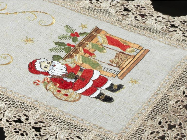 Trilho de Mesa Natal com Bordado Richelieu 40x85cm Avulso - Nicolau Bege - Dui Design
