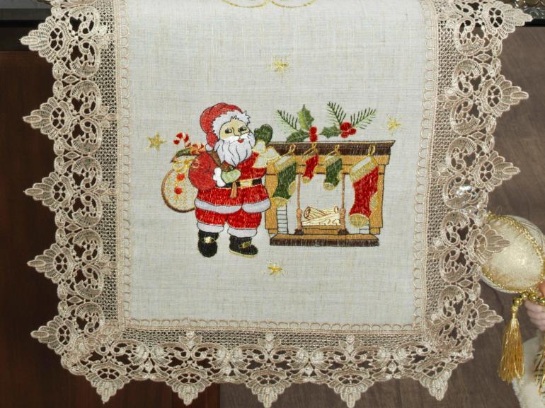 Trilho de Mesa Natal com Bordado Richelieu 45x170cm Avulso - Nicolau Bege - Dui Design