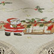 Centro de Mesa Natal Quadrado de Linho com Bordado Richelieu 85x85cm - Nicolau Bege - Dui Design