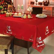 Toalha de Mesa Natal com Bordado Richelieu Quadrada 4 Lugares 160x160cm - Nicolau Vermelho - Dui Design