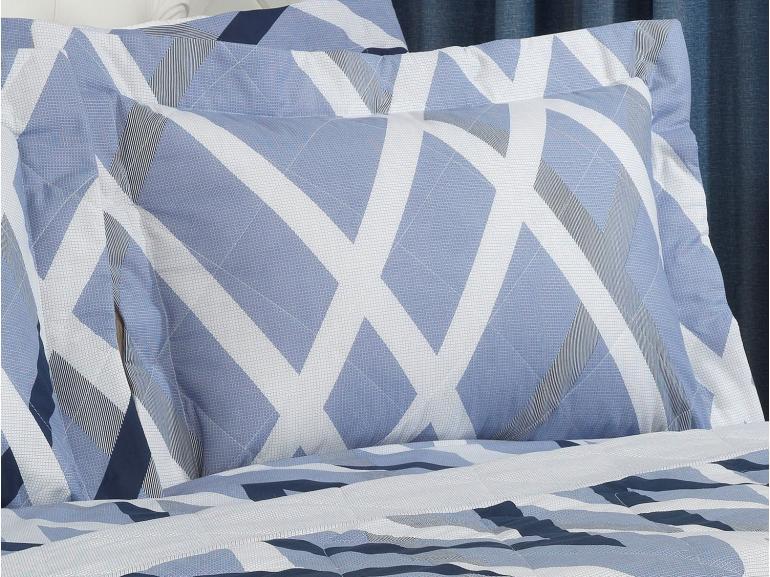 Kit: 1 Cobre-leito Casal + 2 Porta-travesseiros 150 fios - Nimbos Indigo - Dui Design