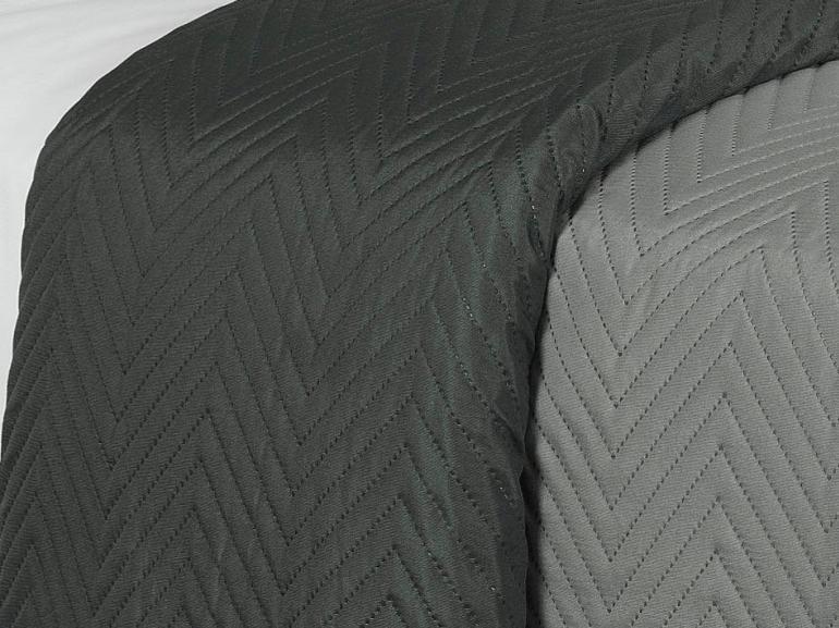 Kit: 1 Cobre-leito Casal Bouti de Microfibra Ultrasonic + 2 Porta-travesseiros - Niros Grafite - Dui Design