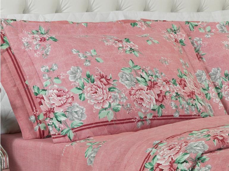 Kit: 1 Cobre-leito King + 2 Porta-travesseiros 150 fios - Nivea Rosa Velho - Dui Design