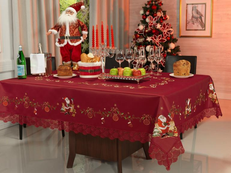 Toalha de Mesa Natal com Bordado Richelieu Quadrada 4 Lugares 160x160cm - Noel Vermelho - Dui Design