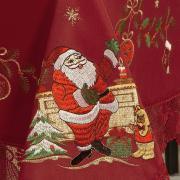 Toalha de Mesa Natal com Bordado Richelieu Retangular 6 Lugares 160x220cm - Noel Vermelho - Dui Design