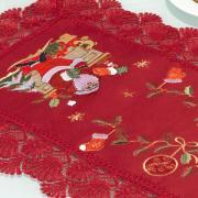 Trilho de Mesa Natal com Bordado Richelieu 40x85cm Avulso - Noel Vermelho - Dui Design