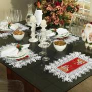 Jogo Americano Natal 4 Lugares (4 peças) com Bordado Richelieu 35x50cm - Noeli Vermelho - Dui Design